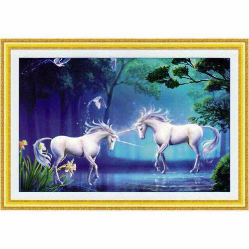 Tranh đính đá Đôi Ngựa Trắng A971 chưa đính