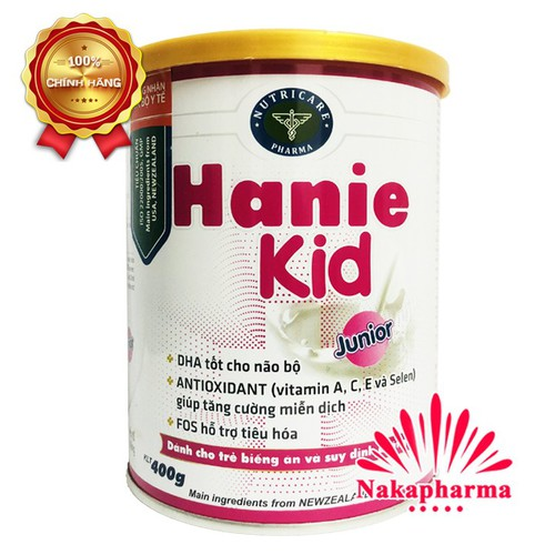 ✅ [CHÍNH HÃNG] Sữa bột Hanie Kid Junior 400g cho bé biếng ăn, chậm lớn, còi xương