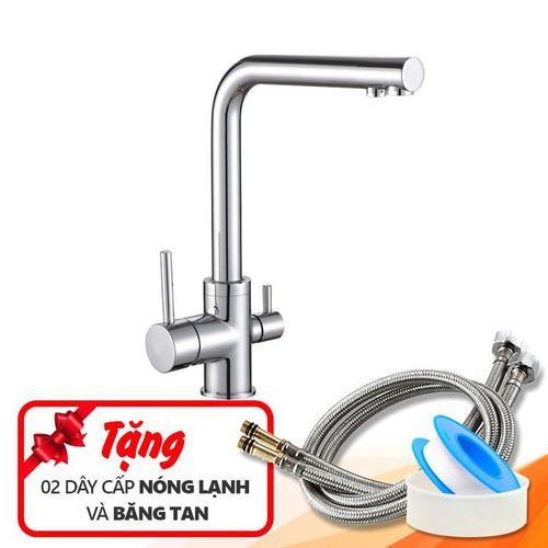 Vòi rửa bát nóng lạnh 3 đường nước KB-6017 + 02 dây cấp và băng tan