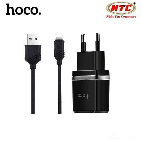 Bộ cáp và cốc sạc Hoco C12 1A - Hãng phân phối chính thức - BOSACHOCOC12IP-DEN