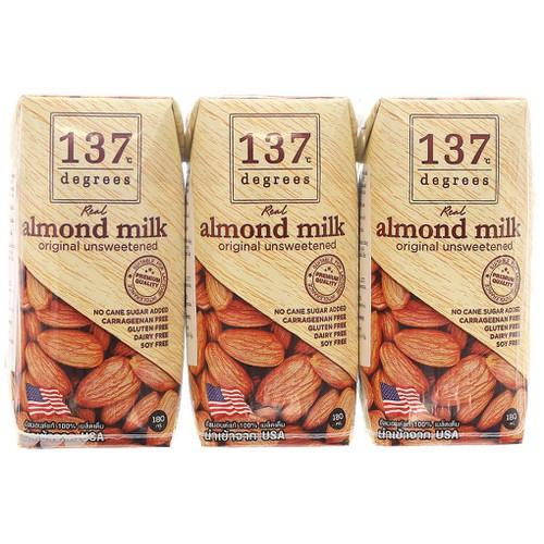 Lốc 3 Hộp Sữa Hạnh Nhân 137 Degrees Không Đường 180ML