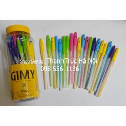 Hộp 30 cây bút bi Gimy 0.7mm mực xanh - bút nến ngắn