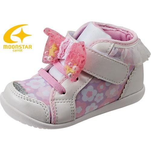 Giày bé gái in hoa đính nơ cổ viền ren Moonstar Carrot 16SS CR B79