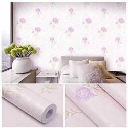 10m giấy dán tường hoa hồng tím