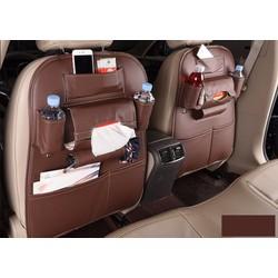Túi da đựng đa năng đồ treo ghế sau ô tô, bản to chùm kín lưng ghế, màu sắc: Cam,Kem, Nâu, Đen, Da bò