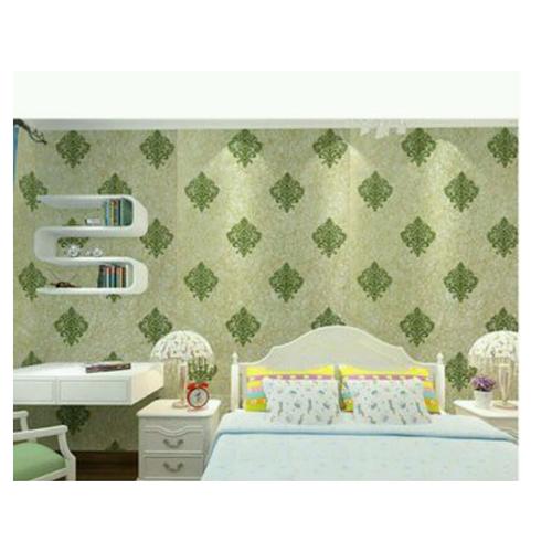 10m giấy dán tường họa tiết châu Âu xanh  khổ 45