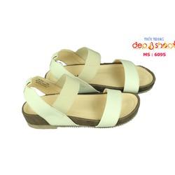 Giày sandal nữ big size quai ngang đế bánh mì 4cm màu kem depvashock