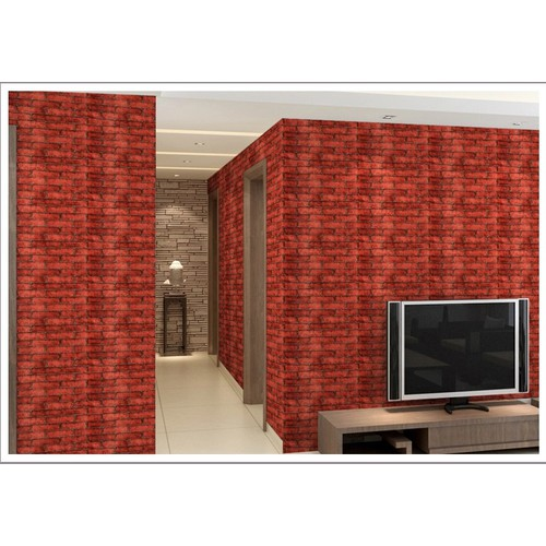 10m giấy dán tường họa tiết gạch đỏ đất khổ 45