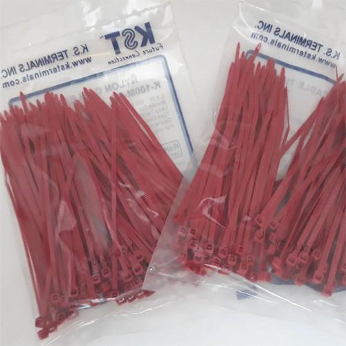 Bộ 02 túi dây rút nhựa màu đỏ 10cm, túi đóng 100 sợi