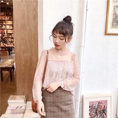 Áo kiểu nữ-Áo tay dài-áo lưới