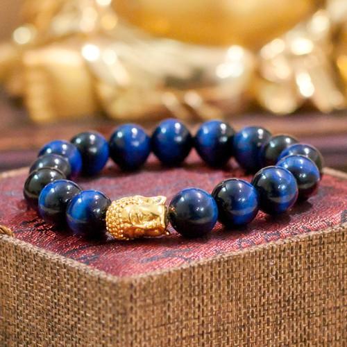 Vòng Phong Thủy đá mắt mèo xanh dương mặt phật 12 ly V79-12