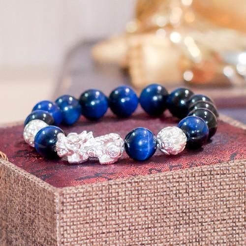Vòng đá mắt mèo xanh dương tỳ hưu bạc 12 V72-12|SD6