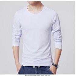 Áo thun dài tay nam body hot màu trắng