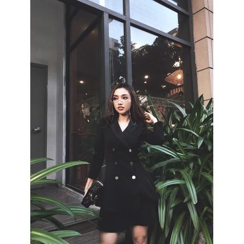 Đầm xòe cổ vest 2 tầng - Size M, L