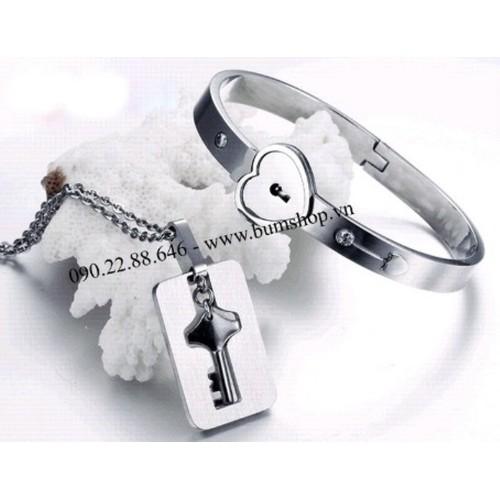 Bộ đôi vòng tay và dây chuyền ổ khóa inox