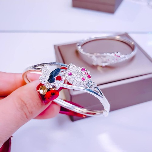 Lắc tay bạc mèo cho bé LTB228