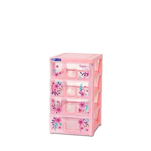 Tủ nhựa Duy Tân Tomi s 4 tầng màu hồng