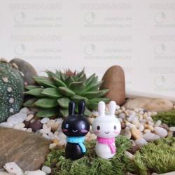 Phụ kiện trang trí tiểu cảnh Terrarium - Cặp đôi thỏ dễ thương