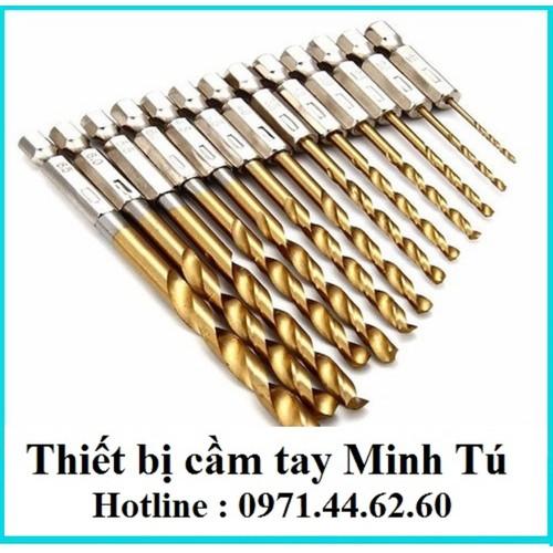 Bộ 13 mũi khoan xoắn chuôi lục giác 6.35 từ 1.5-6.5mm