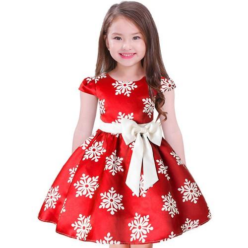 Váy đầm công chúa cho bé gái họa tiết bông hoa tuyết giá rẻ