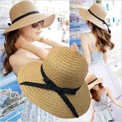Nón cói đi biển thắt nơ hàng Quảng Châu cói mềm thuận tiện gấp gọn bỏ balo