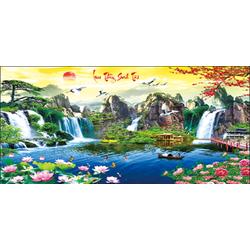 Tranh thêu chữ thập phong cảnh Lưu Thuỷ Sinh Tài 3D LV3021_Chưa thêu