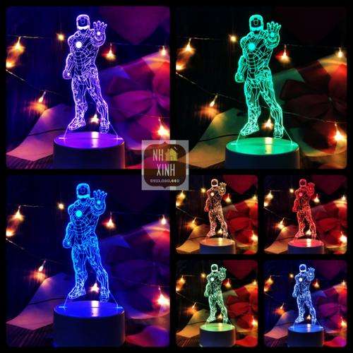 Đèn ngủ 3D IRON MAN 16 MÀU kèm điều khiển, trang trí, quà sinh nhật