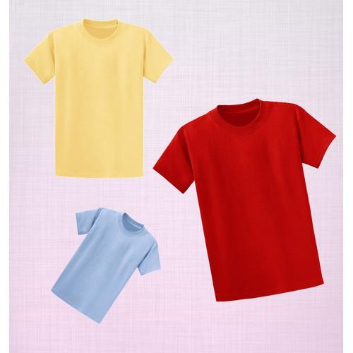 Combo 3 áo thun trơn màu tối giản - Đỏ-Vàng-Xanh Da Trời
