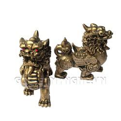 Cặp Tượng Đá Trang Trí Tỳ Hưu Phong Thủy - Màu Nhũ Vàng
