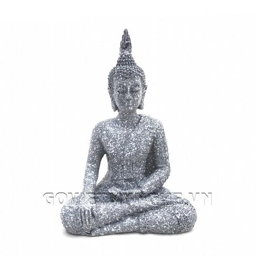 Tượng Đá Phật Thái Thủ Ấn - Xúc Địa Ấn - Đá Xám
