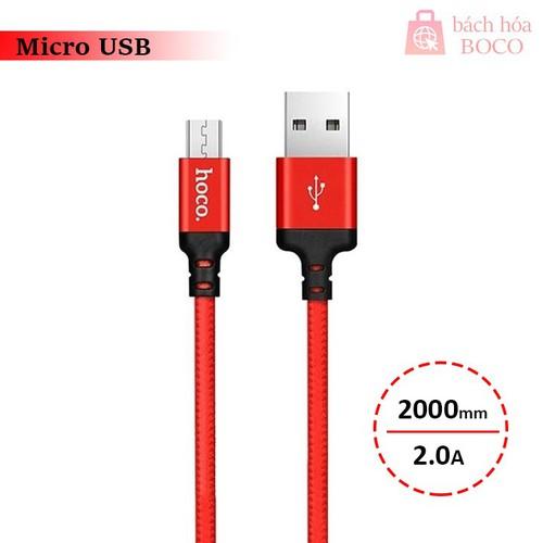 Cáp sạc điện thoại, máy tính bảng Micro USB Hoco X14 dây dù 2 mét dòng điện 2.0A