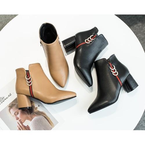 Giày bốt nữ da cao cấp - Giày boots nữ cổ thấp