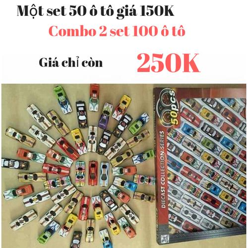 Combo 2 set 50 ô tô cho bé - 2 Bộ đồ chơi ôtô [100 xe đua]