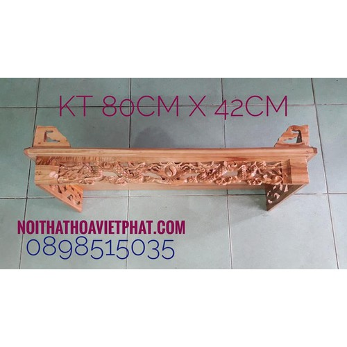 Bàn thờ treo tường gỗ xoan CHẠM RỒNG KT 80CM X 42CM
