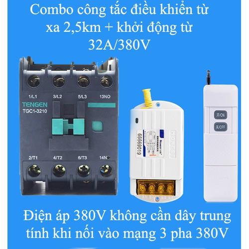 Combo Công tắc điều khiển từ xa 2,5km  điện áp 380V Honest HT-6380-3 + khởi động từ 32A