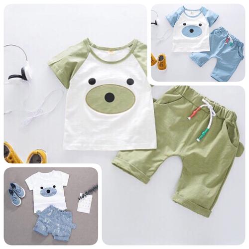 Bộ quần áo gấu con baby chất cotton cho bé từ 5 đến 19kg
