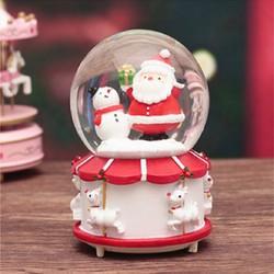 Hộp nhạc quả cầu tuyết giáng sinh-đế trắng-ông già noel giơ tay