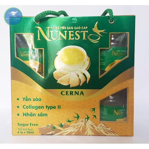 LỐC yến sào cao cấp nhân sâm collagen không đường Nunest Cerna 6 lọ x 70ml
