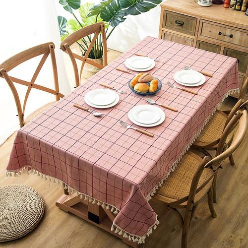 Khăn trải bàn KT 90x40cm sọc kẻ hồng cao cấp