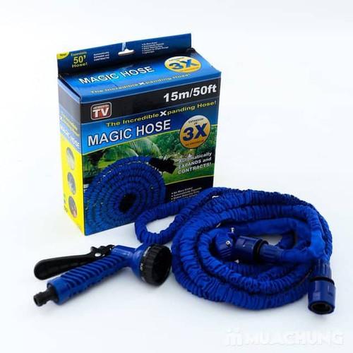 Vòi xịt rửa thông minh giãn nở MAGIC HOUSE loại 15m xanh dương