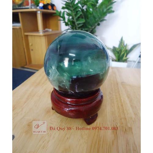 Quả cầu phong thủy đá fluorit xanh tự nhiên đường kính 7,7cm