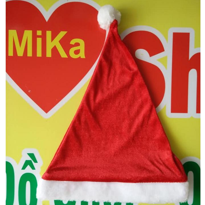 Mũ nón Noel chất nhung trơn - cỡ lớn 4