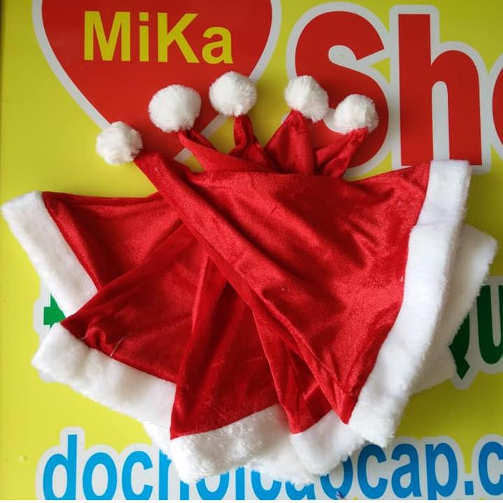 Mũ nón Noel chất nhung trơn - cỡ lớn 2