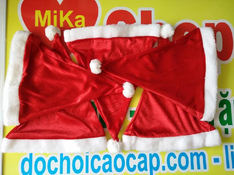 Mũ nón Noel chất nhung trơn - cỡ lớn 3
