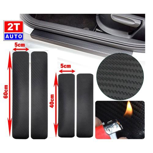 4 Tấm dán miếng dán decal đề can carbon chống xước bậc cửa ô tô xe hơi- MÀU ĐEN