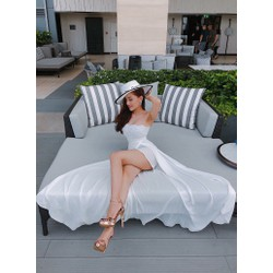 Đầm maxi trắng 2 dây xẻ tà sang trọng