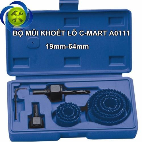 Bộ khoét lỗ 11 chi tiết C-Mart A0111 19mm-64mm
