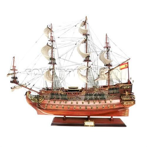 Mô Hình Thuyền Gỗ Chiến Cổ San Felipe Thân 80cm - Gỗ Tự Nhiên