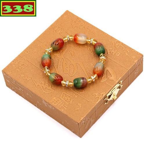 Vòng tay chuỗi đá phong thủy thạch anh đỏ xanh FSOXV2 kèm hộp gỗ
