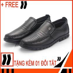 Giày lười nam Tronshop TS315 Free 1 đôi vớ giày lười nam